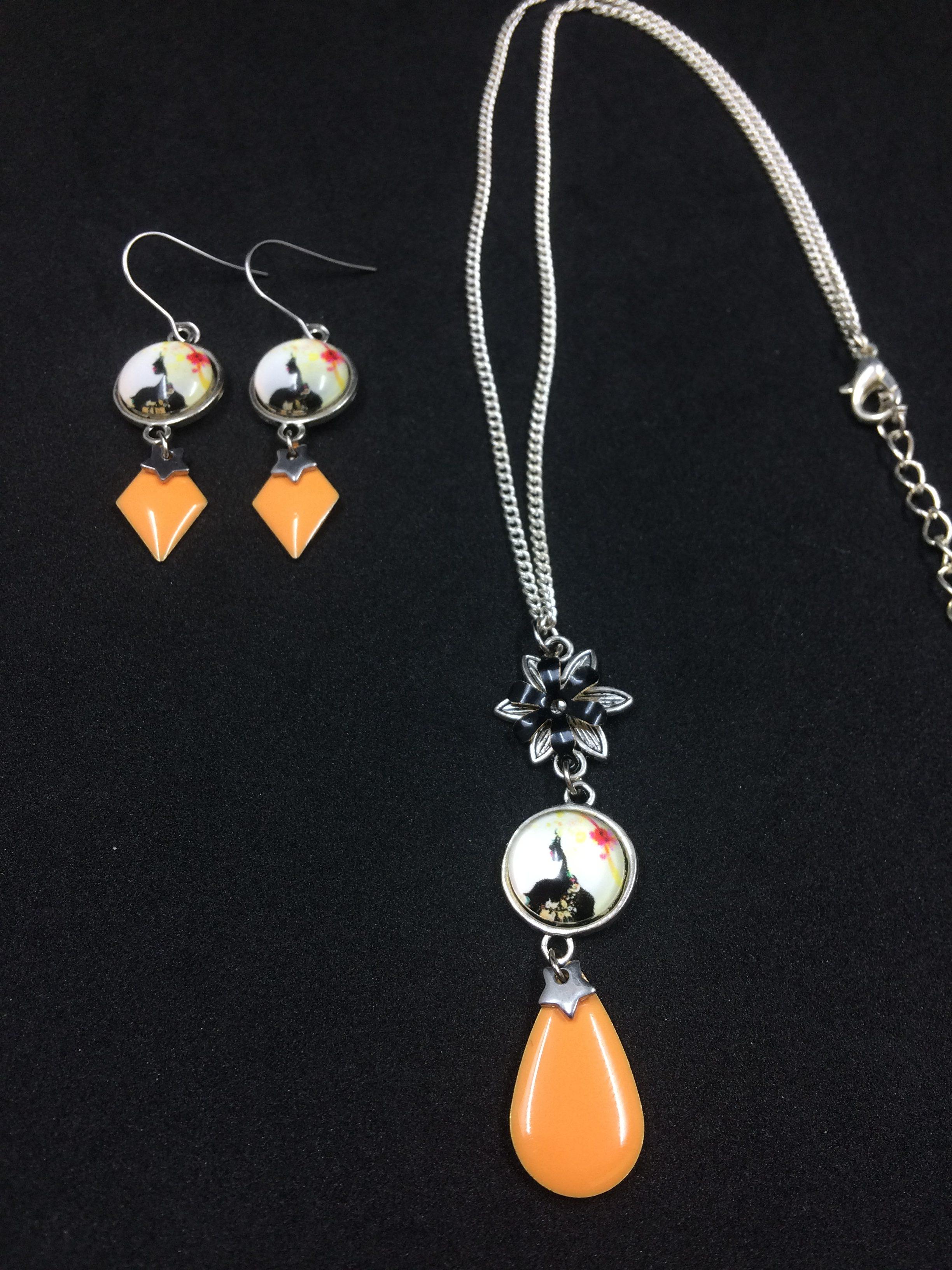 boucle d'oreille orange femme