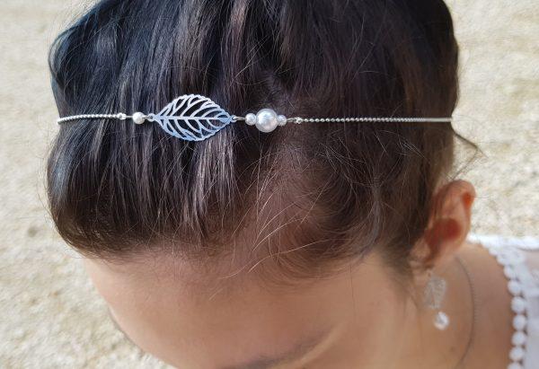 Headband inox fait main - Feuille argentée et perles d'imitation blanches. Calino Crea