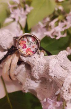 Bague inox - cabochon bouquet de fleurs multicolores