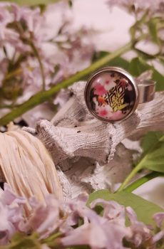 Bague artisanale inox - cabochon fleurs roses et toucan