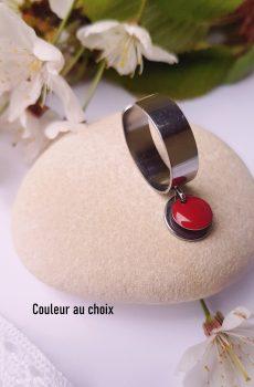 Bague artisanale inox personnalisable - sequin rond coloré et argenté