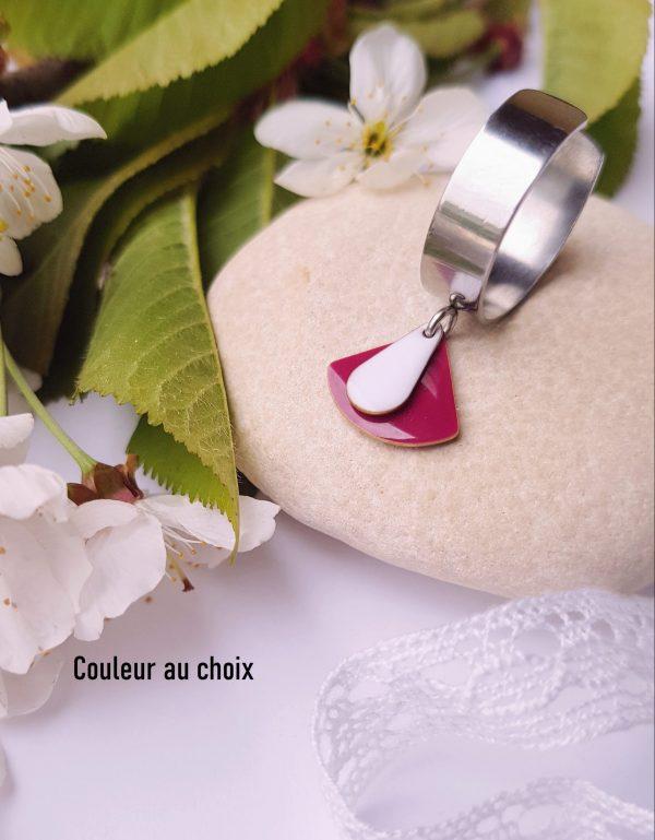 Bague inox artisanale - sequins émaillés goutte et éventail de couleur au choix