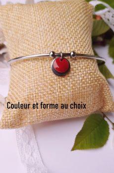 Bracelet fait main en inox personnalisable - sequin rond coloré et argenté