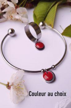 Bracelet et bague fait main en inox personnalisable - sequin rond coloré et argenté