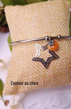 Bracelet inox avec étoiles argentées et sequins émaillés moutarde