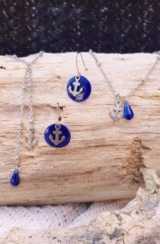 Parure [Boucles d'oreilles, collier et bracelet] inox - ancre marine et goutte bleue