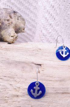 Boucles d'oreilles inox - ancre marine et sequin bleue