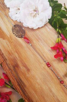 Headband inox fait main - Rosace ovale, sequin émaillé et perles d'imitation rouge. Calino crea