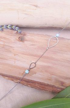 Headband inox fait main - Gouttes argentées et perles d'imitation bleu clair. Calino crea