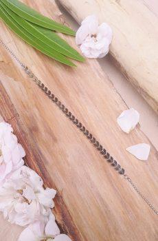 Headband inox fait main - Chaîne épi et chaîne billes argentées. Calino crea