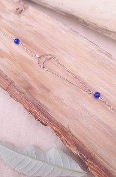 Headband inox - Lune et perles d'imitation bleues