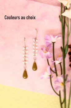 Boucles d'oreilles inox personnalisables - chaîne épi blanche et goutte émaillée