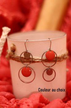 Boucles d'oreilles inox personnalisables - ASYMETRIQUES cercles et sequins colorés