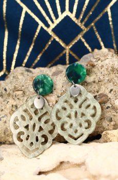 Boucles d'oreilles inox - Clou vert et losange résine vert-cendre pailleté