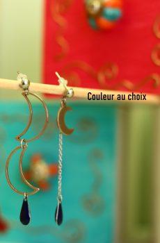 Boucles d'oreilles inox personnalisables - ASYMETRIQUES lunes et sequins gouttes
