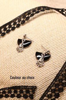 Boucles d'oreilles inox personnalisable - sequin demi-cercle et losange argenté