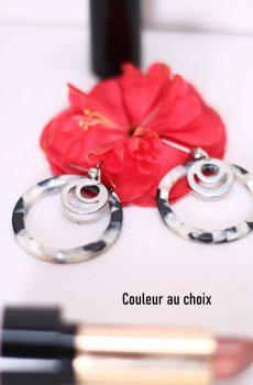 Boucles d'oreilles inox personnalisables - Créole résine et cercle ajouré