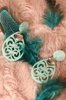 Boucles d'oreilles inox - Clou et goutte turquoise résine
