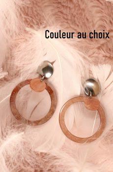 Boucles d'oreilles inox personnalisables - Créole et sequin résine