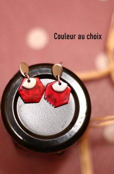 Boucles d'oreilles inox personnalisables - Hexagone résine et éventail argenté
