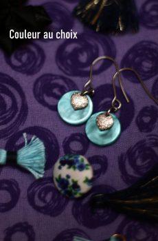 Boucles d'oreilles inox personnalisables - Losange pailleté et sequin résine