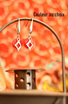 Boucles d'oreilles inox personnalisables - Sequin résine et losange ajouré