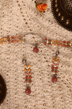 Parure [bracelet et boucles d'oreilles] en acier inoxydable fait main - chaîne épi rose orangée