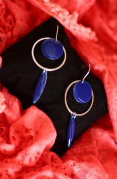 Boucles d'oreilles inox - Anneau argenté et sequins émaillés bleu foncé