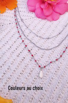 Collier inox personnalisable - double chaîne et sequin goutte colorée