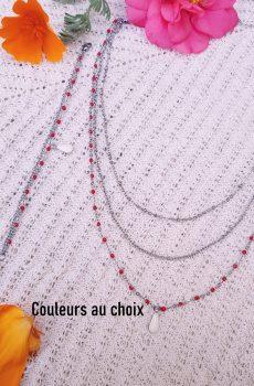Bracelet et collier inox personnalisable - double chaîne et sequin goutte colorée