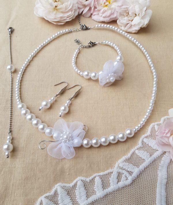 Parure inox fait main - Perles et fleur blanches. Calino crea