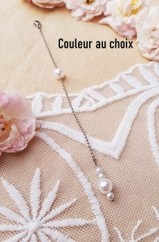 Bijou de dos inox fait main - Perles blanches. Calino crea