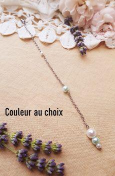 Bijou de dos inox mariage fait main - Perles blanches et bleues. Calino Crea