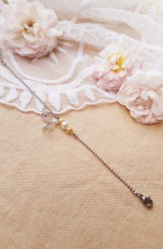 Bracelet inox mariage fait main - Arabesque et perles blanches et doré clair. Calino Crea