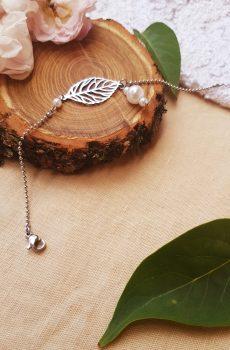 Bracelet inox mariage fait main - Feuilles et perles blanches. Calino Crea