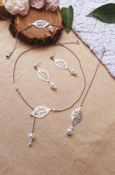 Parure inox mariage fait main - Feuilles et perles blanches. Calino Crea