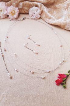 Parure inox mariage fait main -Perles blanches, ivoires et rose clair. Calino crea