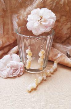 Bracelet et boucles d'oreilles inox mariage fait main - Perles blanches et ivoires. Calino Crea