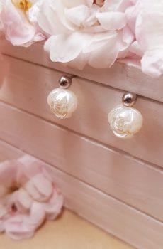 Boucles d'oreilles inox mariage fait main - Perles roses blanches. Calino Crea