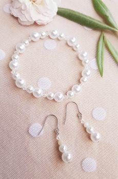 Bracelet et boucles d'oreilles mariage fait main - Trio de perles blanches. Calino Crea