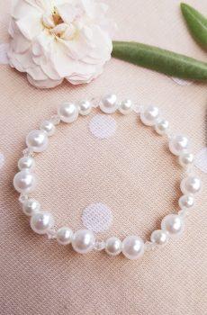 Bracelet mariage fait main - Trio de perles blanches. Calino Crea