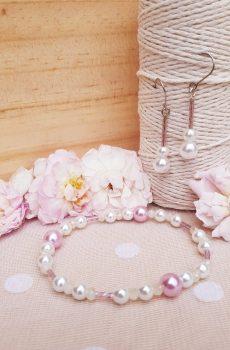 Bracelet et boucles d'oreilles inox mariage fait main - Perles roses et blanches. Calino Crea