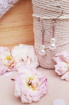 Boucles d'oreilles inox mariage fait main - Perles roses et blanches. Calino Crea
