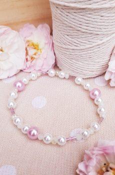 Bracelet inox mariage fait main - Perles roses et blanches. Calino Crea