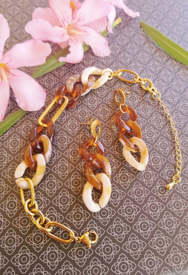 Bracelet et boucles d'oreilles inox fait main - chaîne maillons marron, beige et dorés. Calino Crea