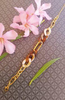 Bracelet inox fait main - chaîne maillons marron, beige et dorés. Calino Crea