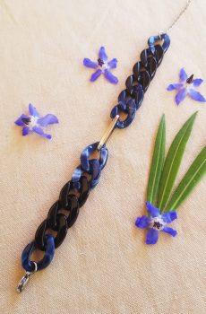 Bracelet inox fait main - chaîne maillons bleus, noirs et argentés. Calino Crea