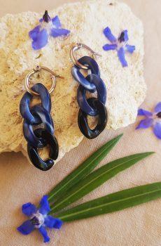 Boucles d'oreilles inox fait main - chaîne maillons bleus, noirs et argentés. Calino Crea