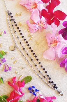 Bracelet inox fait main - triple chaîne émaillée et sequin argenté. Calino Crea