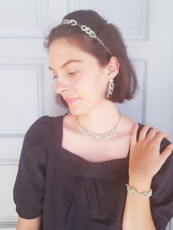Bracelet, collier et boucles d'oreilles inox fait main - chaîne maillons menthe et argentés. Calino Crea